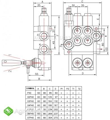 Rozdzielacz hydrauliczny 3 sekcyjny 40L - zdjęcie 1